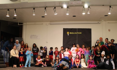"Youth at Clayton Kid Zone dressed up for the Lights On ""Monster Mash Bash"""